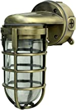 Woods L1707SVAB Traditional 100W Incandescent Weather Industrial Light, Suitable for Indoor and Outdoor Use, Wall Mount, Metal Die Cast Construction and Tempered Glass Lens, Antique Brass,