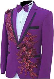 Howely Mens Stage Clothes Skinny Embroidery 2 Pieces Suits Blazer & Trousers