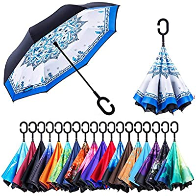 Windproof And Rainproof Double Folding Inverted Umbrella With C-Shaped Handle UV Protection Inverted Folding Umbrellas Movie Maleficent Car Reverse Umbrella