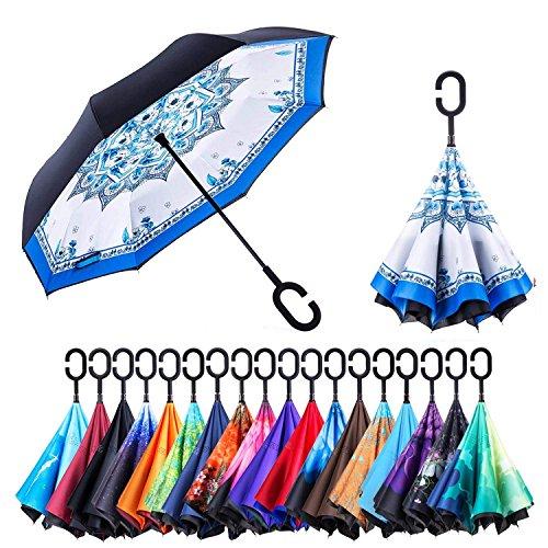 Paraguas de doble capa invertido Jooayou con mango en forma de C, plegable, resistente a los rayos UV y al viento, para viajar, con bolsa de transporte, Mujer, Blue and white porcelain