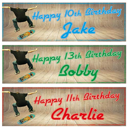 2 Personalised Birthday Banners Skateboard Design (Blue)