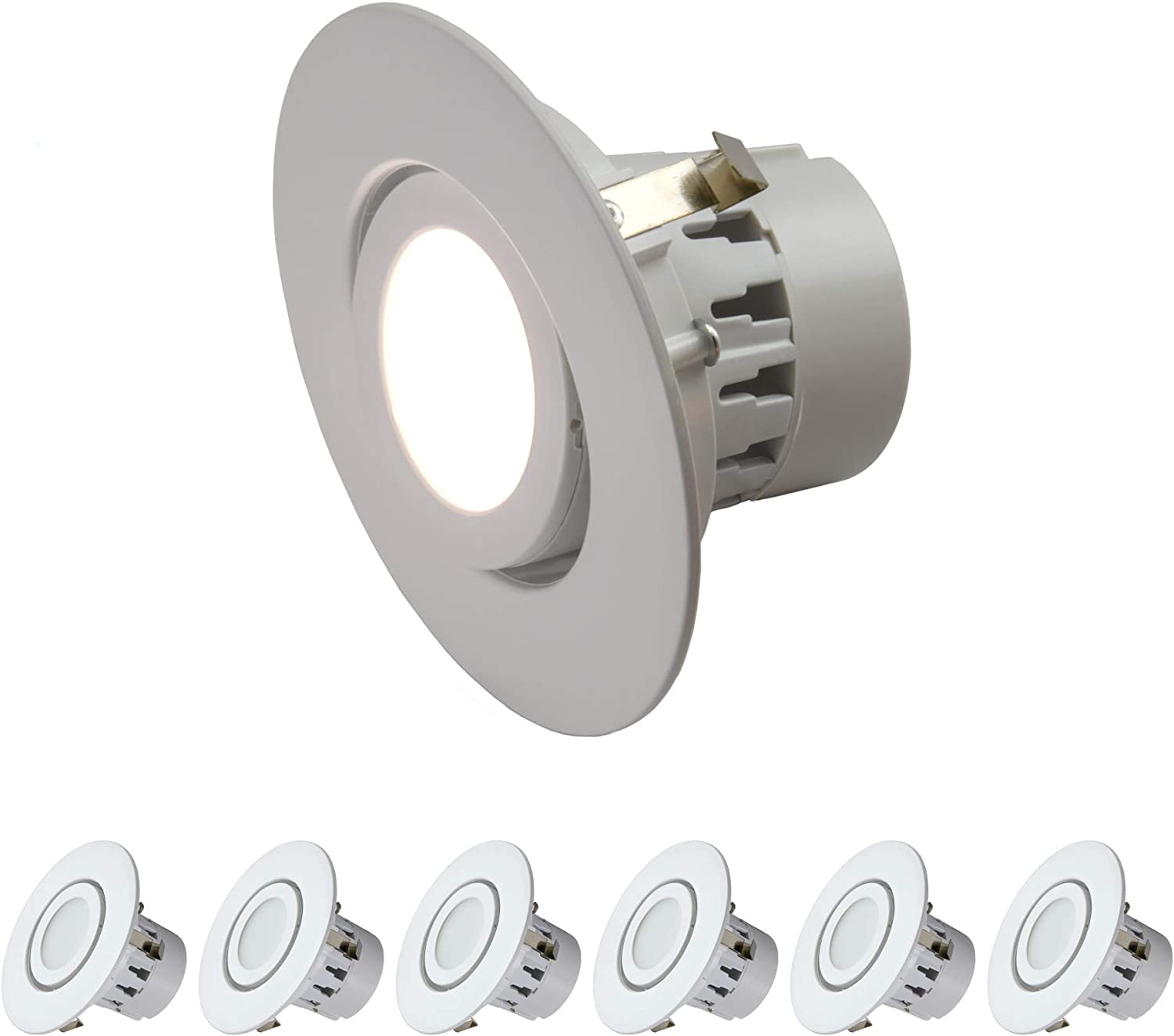 4  Inch LED Gimbal Adjustable redating Downlight (6 Pack) 10W= (75w Equivalent) Wet Loaction Rated; 25,000 Life Hours; Dimmable; Daylight 4000K; 10 Year Warranty
