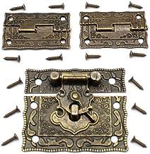 LUCY WEI 1 stuk antiek reliëf Haspe Latch Lock juwelendoos slot kist slot met vergrendelhaak 2 stuks scharnieren voor het ...