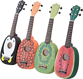 HOT SEAL 21in Cute Pineapple Shape Handmade Carving Dapper Beginners Concerts Ukuleles Uke (Watermelon)