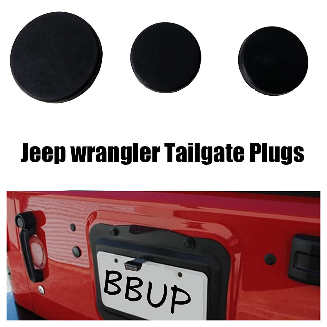 Tailgate Plugs for Jeep Rubber Plug Rear Door Body Plugs kit for 2007-2018 Jeep Wrangler JK (3Pcs)