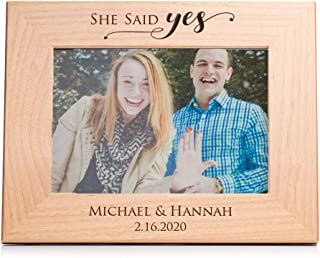 """Lifetime Creations Engraved Personalized Engagement Picture Frame (5"""" x 7"""" Landscape) - Personalized Engagement Frame Gift, She Said Yes Frame"""