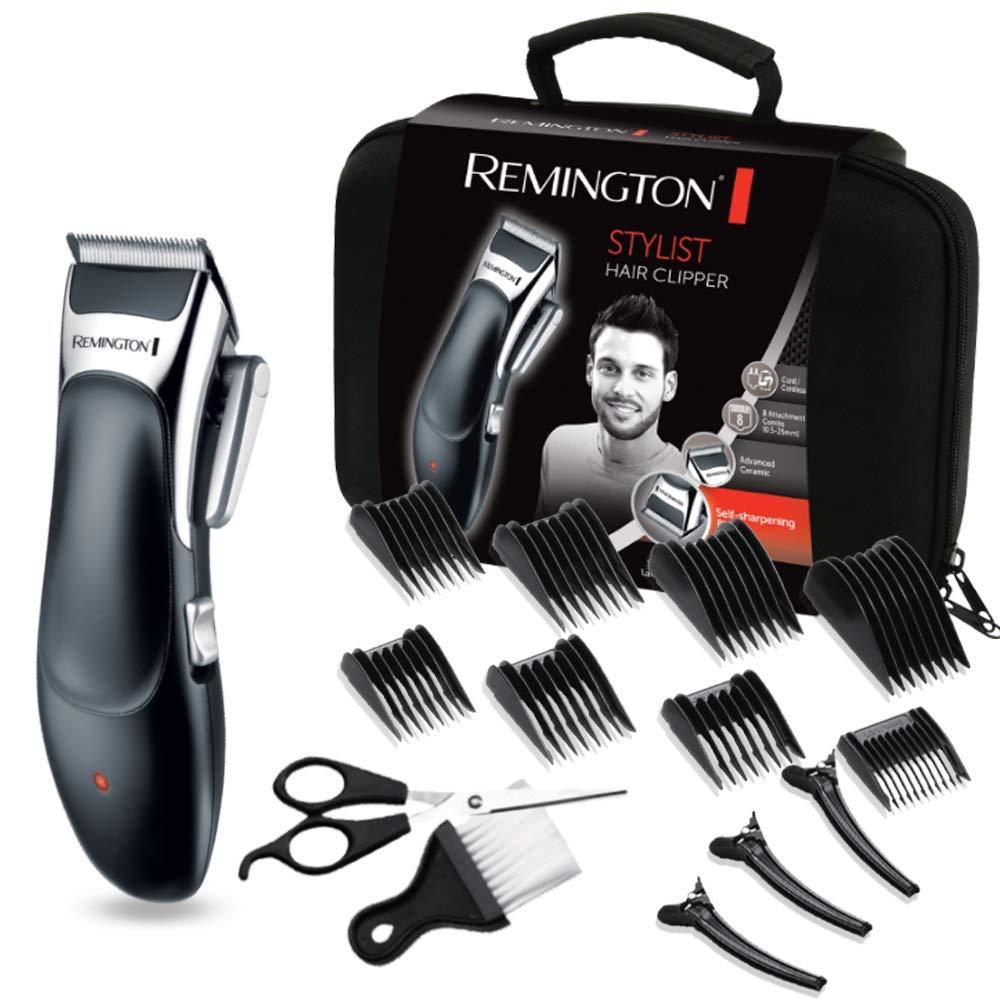 Remington Coffret Cheveux, Tondeuse Cheveux Lames Advanced Ceramic, Auto-Affûtées, Auto-Lubrifiées, Anti Irritations, 8 Sabots - 5pcs HC363C