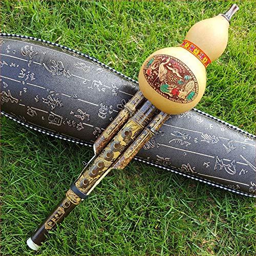 XuBa Chinesische handgefertigte Hulusi-Kürbisflöte, Ethno-Musikinstrument, C-Schlüssel, Bb-Ton, für Anfänger, Musikliebhaber, C-Schlüssel