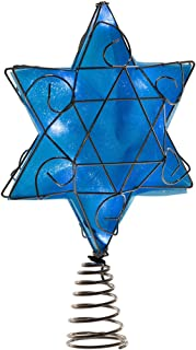 Kurt Adler UL 10-Light LED Silver and Blue Hanukkah Star Shimmer Treetop