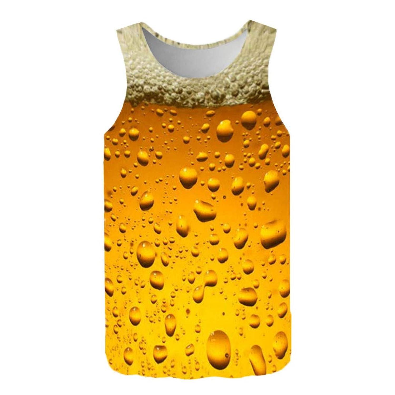 Boybya メンズ タンクトップ ヒップホップ ビール 3Dプリント 面白い 可愛い オシャレ 通気性 人気 トップス トレンド スリムフィット 快適 ファッション ゆったり ブランド カジュアル スポーツ かっこいい 人気 ストリート 旅行