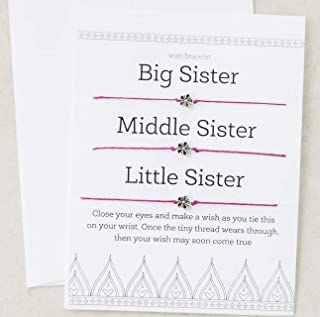 Sisters Big Middle Little Wish Bracelet Matching Set of Three Gift Greeting Card