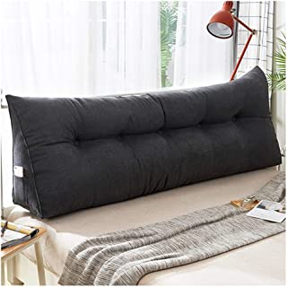 Removable Wedge Bedside Back Cushions Korean Velvet Fabric Triangular Large Three-Dimensional Bed Backrest Pillow (Color : Black, Size : 150x20x50cm)