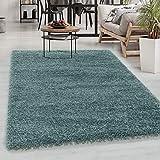 Carpetsale24 Alfombra Shaggy de Pelo Alto, Alfombra de salón de Pelo Largo, Shaggy Liso y Suave, Dimensiones:120 cm x 120 cm Redondo, Color:Aqua