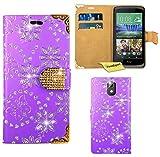 HTC Desire 526G Handy Tasche, FoneExpert® Bling Luxus Diamant Hülle Wallet Hülle Cover Hüllen Etui Ledertasche Premium Lederhülle Schutzhülle für HTC Desire 526G (Lila)