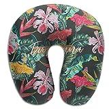 Hdadwy Oreiller en Forme de U en Mousse à mémoire de Forme Tropicale Exotique hawaïenne, Oreiller de Repos de Voyage de nouveauté pour la Douleur au Cou, Respirant Doux Confortable réglable