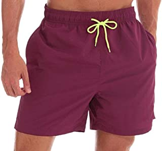Comaba Mens Relaxed-Fit Beach Breathable Leisure Solid-Colored Classic Fit Short