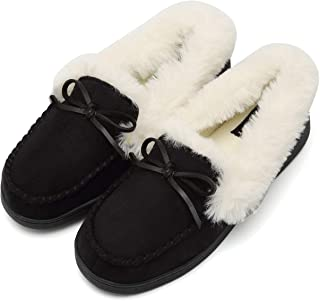 Fanture Womens House Slippers Moccasins Slip On Micro Suede Faux Fur Lined Indoor & Outdoor
