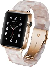 Herbstze for SmartWatch Band 42mm/44mm, Fashion Resin Watch Band Bracelet with Metal Stainless Steel Buckle for SmartWatch...