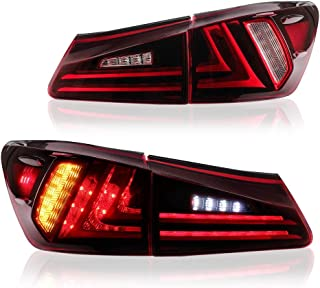MICROPOWER LED Tail Lights for 2006-2013 Lexus Sedan XE20 IS250 IS350 with Full LED DRL Bars and Turn Signals Light (Red Clear)