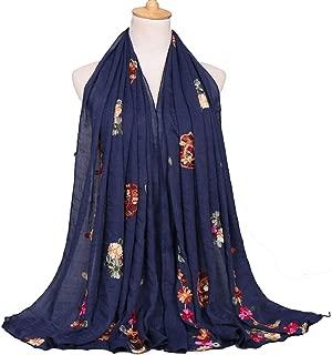 ZFADDS Women Plain Stitch Cashew Floral Shawl Scarf From Indian Ethnic Print Wrap Pashmina Hijab Caps