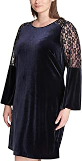 Tommy Hilfiger Women's Plus Size Lace-Sleeve Velvet Shift Dress
