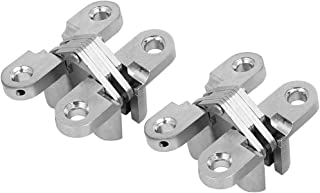 uxcell Screws Mount Zinc Alloy Invisible Concealed Cross Hinges 2pcs for Wooden Doors