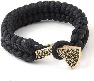 LQQQL Survival Paracord Bracelet Mjolnir Thor's Hammer Viking Bracelet Black Rope