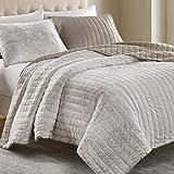 SHALALA Reversible Faux Fur Comforter Set King Size,Ultra Soft Plush 3 Piece Quilt Set, Microfiber Woven Coverlet Bedding Set for All Season (Crushed Stone, King)