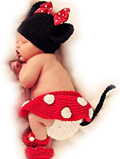 FuzzyGreen Lovely Girl Mouse Crochet Knitted Photography Props Newborn Baby Outfits Diaper Costume