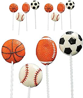 "Kicko 2"" Sports Ball Lollipops - Pack of 12 Assorted Fruit-Flavored Candy Suckers for Party Favors, Cake Decorations, Novelty Supplies or Treats for Halloween, Christmas, Baby Showers"