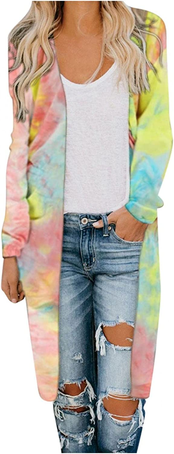 AODONG Cardigan for Women Camouflaged Open Front Breathable Cardigans Causal Loose Long Sleeves Sweaters for Autumn