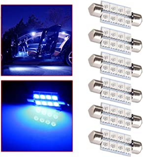 OCPTY Extremely Bright 39mm Festoon Blue Light for 6411 6418 C5W DE3423 6413 DE3425 Car Interior Dome License Plate Door Lights Pack of 6