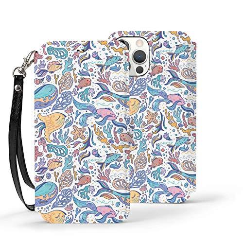 Ip12pro Max-6.7 Funda de cuero Flip Phone Wallet Cover a prueba de golpes Preciosos animales del mar Patrón de protección con ranura para tarjeta Kickstand