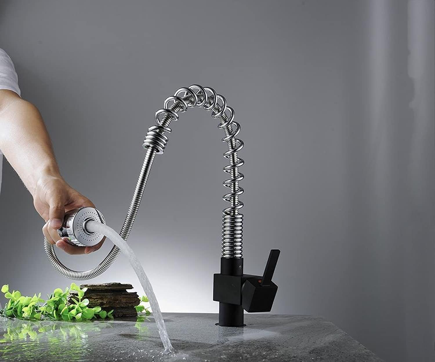 Full Copper Spring Style Pull Type Faucet Kitchen Bathroom Cold and Hot Mixing Water Home Basin Sink Vegetable Wash Tap