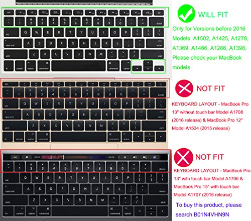 """YYubao Super Stretchy Silicone Keyboard Cover Skin Protector for MacBook Pro 13"""" 15"""" 17"""" (with or Without Retina Display) MacBook Air 13"""" and iMac (Fits US Keyboard Layout only) - Black"""