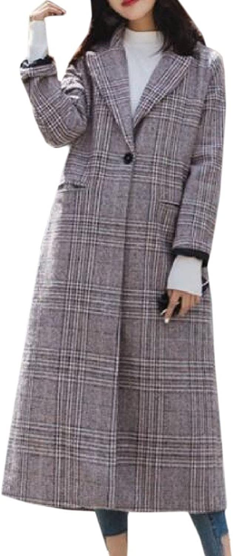 SportsX Women's Lapel RelaxedFit Grid 1 Button Woolen Jacket