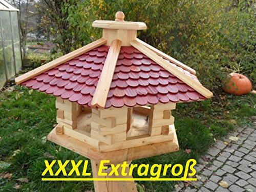 Arbrikadrex Neu mit eckigem Eingang Vogelhäuschen Futterhaus Futterhäuschen Vogel Vogelhaus mit oder ohne 3 Bein-Ständer Futterspender (Rotes Dach ohne 3 Beinständer)