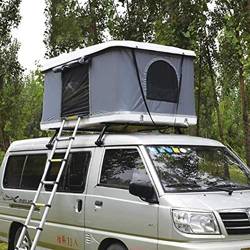 LMHX Dachzelt Autodachzelt 2-3 Erwachsene Fahrzeugzelt, Mit Faltleiter, Weiße Hartschale + Graues Zelt