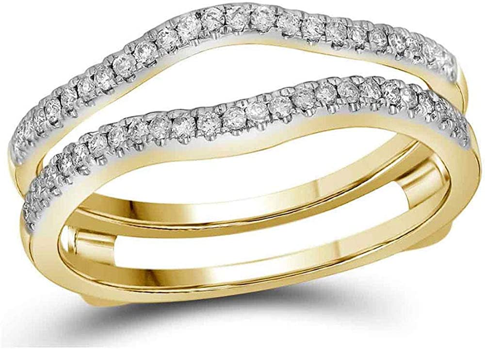 14kt Yellow Gold Womens Diamond Ring Guard Wrap Solitaire Band Enhancer 1/4 Cttw