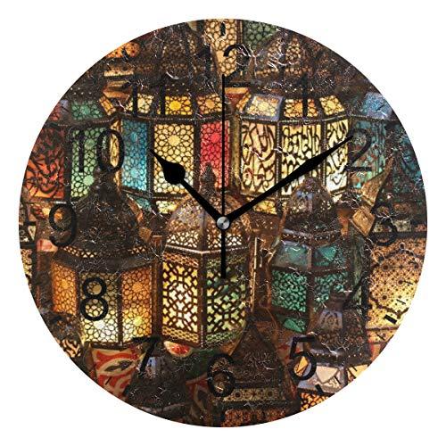 SENNSEE Wanduhr, abstrakt, ägyptische Kairo-Lampen, dekoratives Wohnzimmer, Schlafzimmer, Küche, batteriebetrieben, runde Uhr für Heimdekoration, Kunst