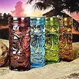 Farbglas Tiki Bechern/Designergläser, 400ml Set von 4–Geschenkbox Glas Cocktail Becher Form...