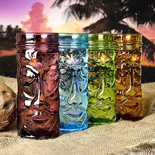 bar@drinkstuff Coloured Glass Tiki Mugs 14oz / 400ml - Set of 4 - Gift Boxed Glass Cocktail Cups Shaped Like Tiki Heads