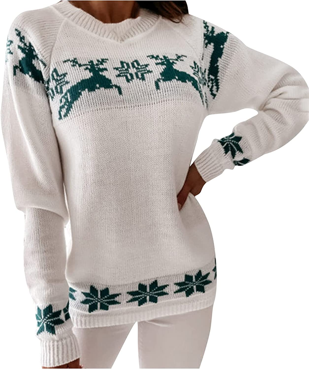 RFNIU Womens Christmas Red Sweater Fashion Graphic Long Sleeve Pullover Knit Sweaters Casual Comfy Shirt Bluses Tops