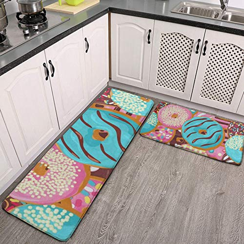 2 Pieces Non-Slip Kitchen Rugs Pink and Teal Donut Beautiful Cushioned Anti Fatigue Kitchen Mats Durable Non-Skid Backing Mat for Doorway Bathroom Runner Rug Set Kitchenware