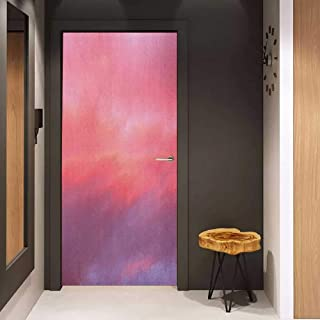 Onefzc Soliciting Sticker for Door Coral Beautiful Vanilla Sky with Clouds Tenderness Dreamy Unreal Soft Heavenly Mural Wallpaper W17.1 x H78.7 Pale Pink Coral Lilac