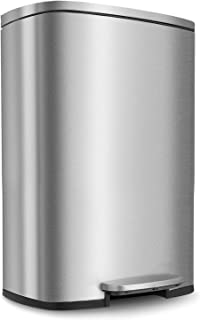HEMBOR 13.2 Gallon(50L) Trash Can, Stainless Steel Rectangular Garbage Bin with Lid and Inner Bucket, Silent Gentle Open and Close Dustbin with Durable Pedal, Suit for Home Office Indoor Outdoor