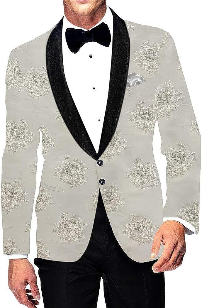 INMONARCH Mens Slim fit Casual Cream Blazer Sport Jacket Coat Shawl Collar SBM1002