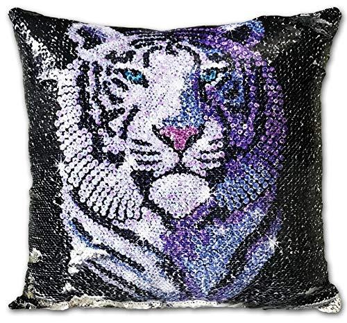 cushion mania DESIGN: White Tiger | Choose Option: SET OF 4 FILLED CUSHIONS