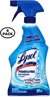 Lysol Bleach Free Hydrogen Peroxide Bathroom Cleaner Spray, Fresh, 22 oz (Pack of 6)