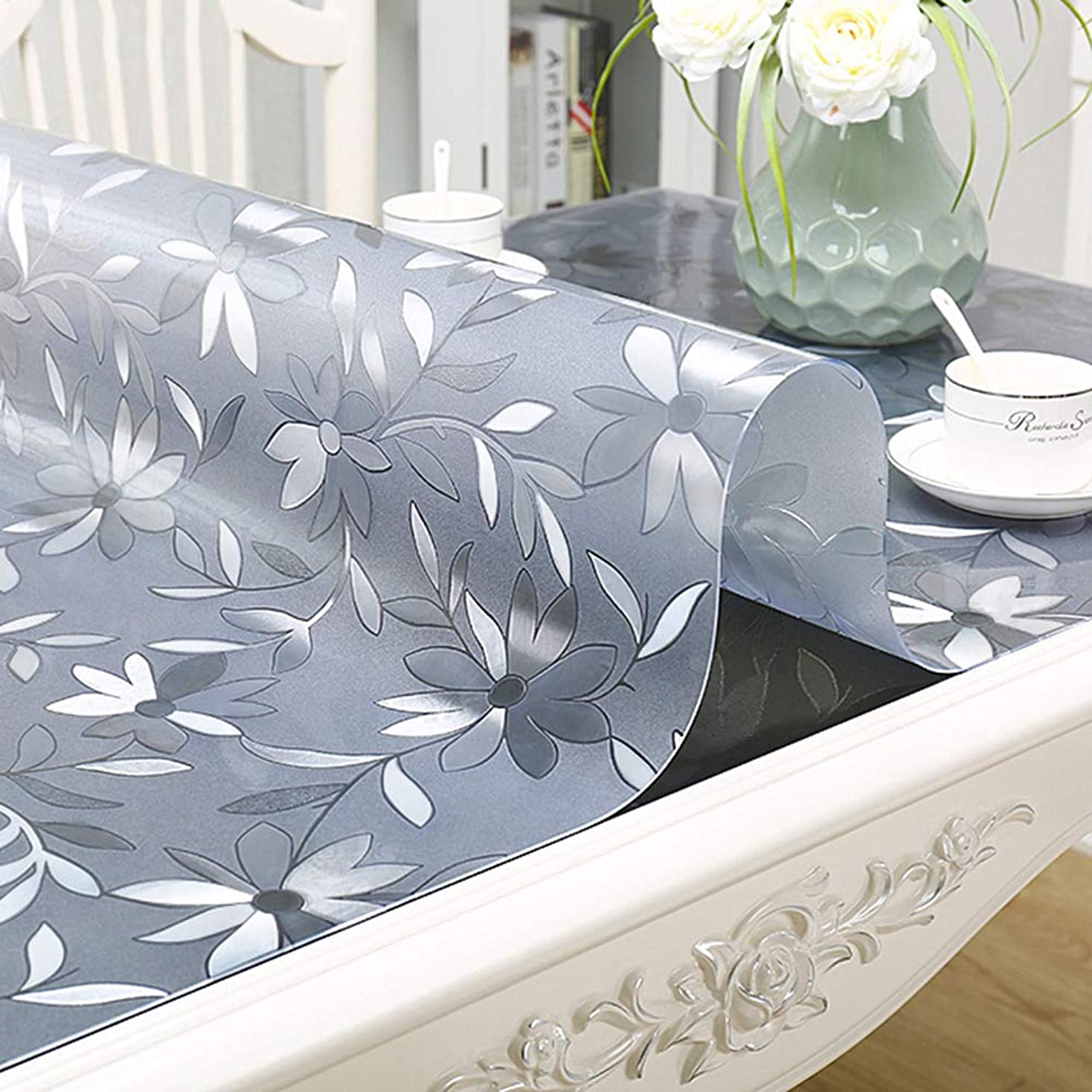 確率レジデンスアクション透明な長方形のテーブルクロス、家庭用pvcの防水と耐油性のないテーブルクロス、テーブルコーヒーテーブルマットをきれいに簡単 ホームデコレーション